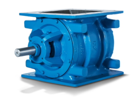 blue rotary airlock valve with square flange