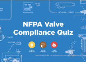 NFPA compliance backdrop with pneumatic conveying system parts