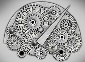 Gears and machine parts with words related to efficiency