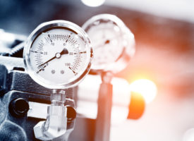 Pressure gauge on manufacturing equipment