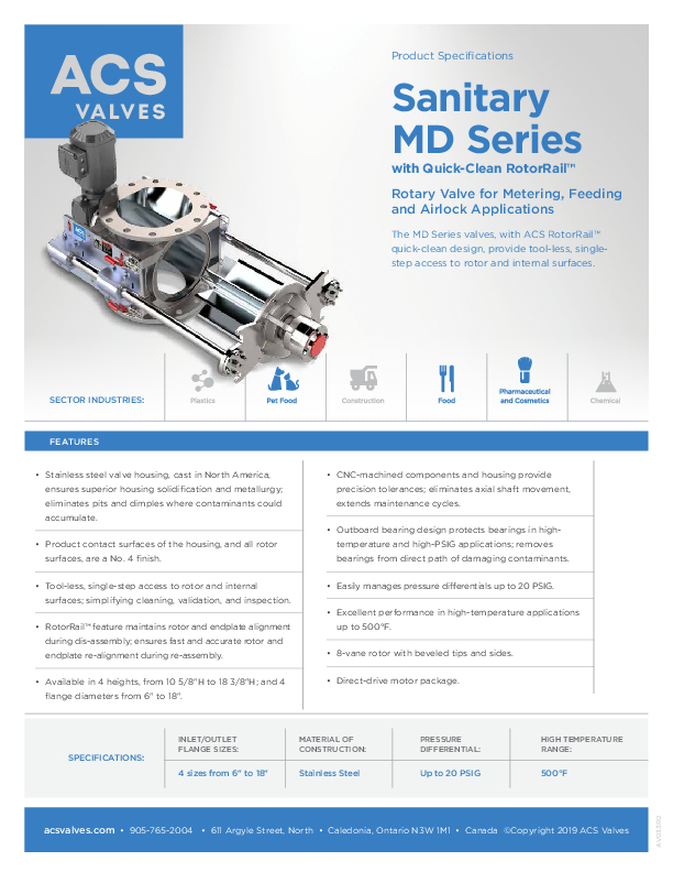 MD Series with Quick-Clean RotorRail™ - Spec Sheet