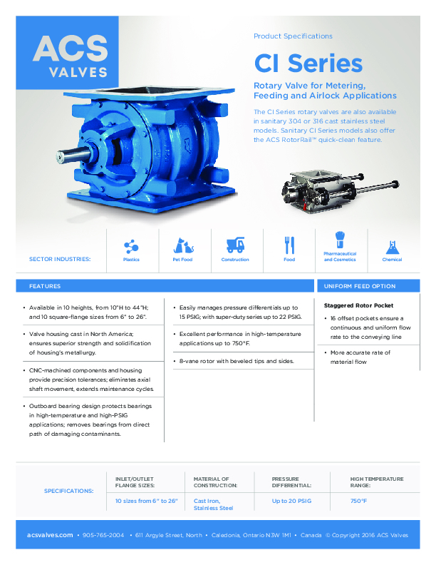 CI Series: Rotary Valves for Metering, Feeding, and Airlock Applications