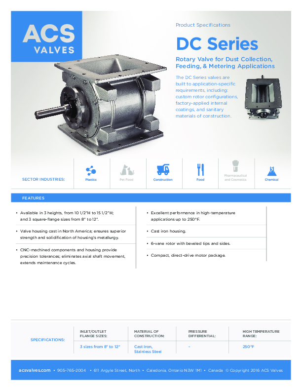 DC Series: Rotary Valve for Dust Collection, Feeding, and Metering Applications