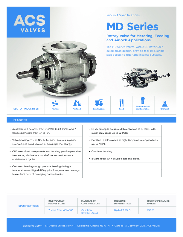 MD Series: Rotary Valve for Metering, Feeding and Airlock Applications