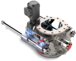 Sanitary MD Rotary Valve with Quick-Clean RotorRail™, closed